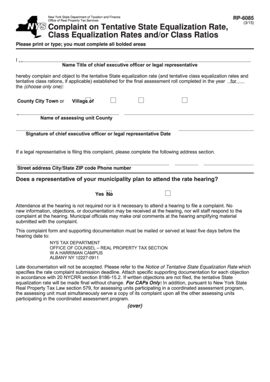 Fillable Form Rp-6085 - Complaint On Tentative State Equalization Rate, Class Equalization Rates And/or Class Ratios Printable pdf
