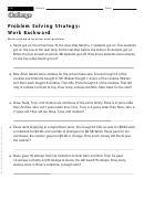 Problem Solving Strategy: Work Backward - Math Worksheet With Answers