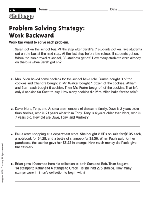 Problem Solving Strategy Work Backward Math Worksheet With