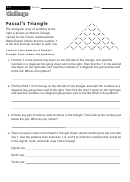 Pascal's Triangle - Math Worksheet With Answers