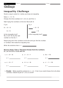 Inequality Challenge - Math Worksheet With Answers