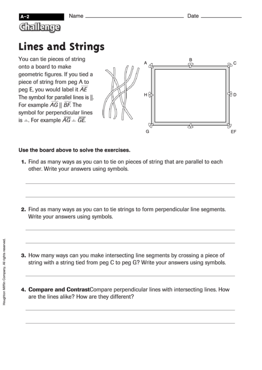 Lines And Strings Geometry Worksheet With Answers Printable Pdf