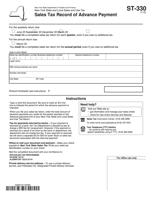 Fillable Form St-330 - Sales Tax Record Of Advance Payment Printable pdf
