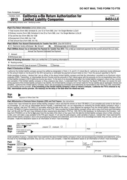 Form 8453-Llc - California E-File Return Authorization For Limited Liability Companies - 2013 Printable pdf