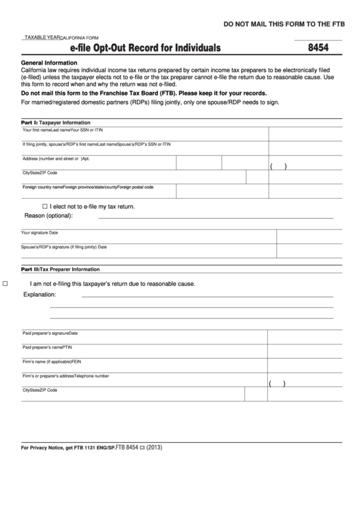Fillable California Form 8454 - E-File Opt-Out Record For Individuals - 2013 Printable pdf