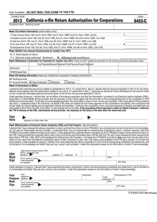 Form 8453-C - California E-File Return Authorization For Corporations - 2013 Printable pdf