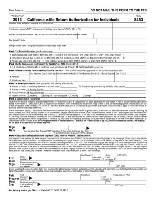 Form 8453 - California E-File Return Authorization For Individuals - 2013 Printable pdf