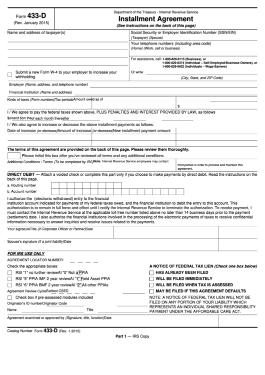 Fillable Form 433 D Installment Agreement Printable Pdf Download