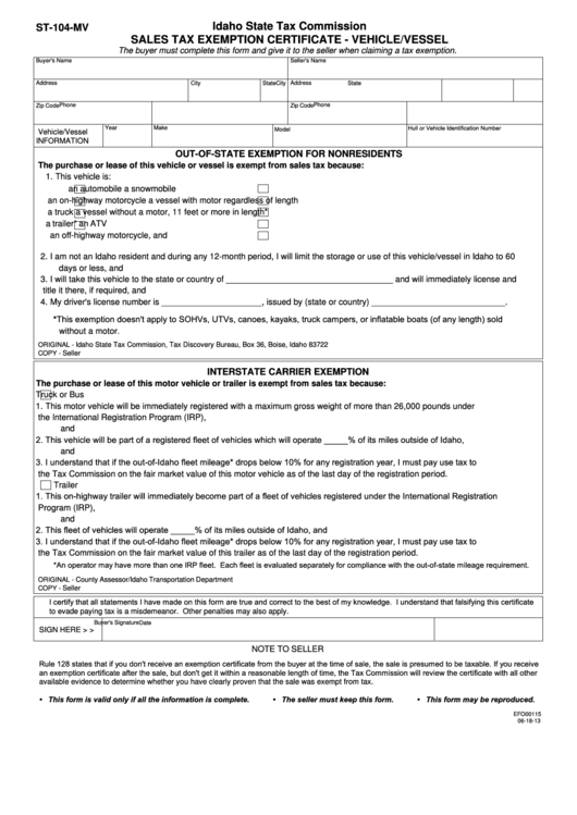 tax certificate exemption form vehicle sales st mv vessel pdf printable