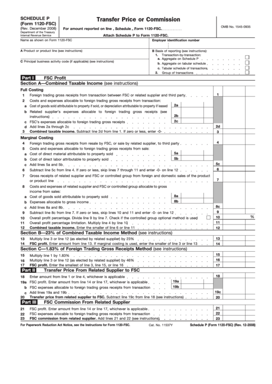 Fillable Form 1120-Fsc - Transfer Price Or Commission Printable pdf