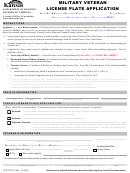 Form Vco/tr-102 - Military Veteran License Plate Application