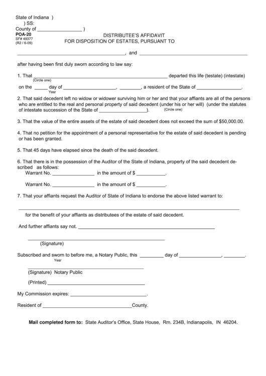 Fillable Form Poa-20  State Form 49377