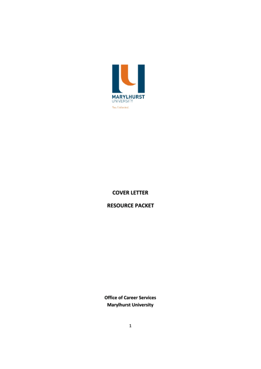 Cover Letter Resource Packet Printable pdf