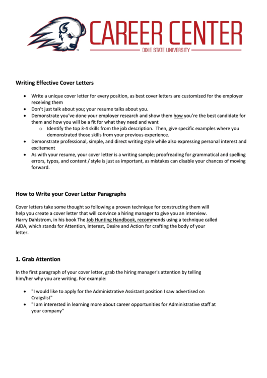 Writing Effective Cover Letters Printable pdf