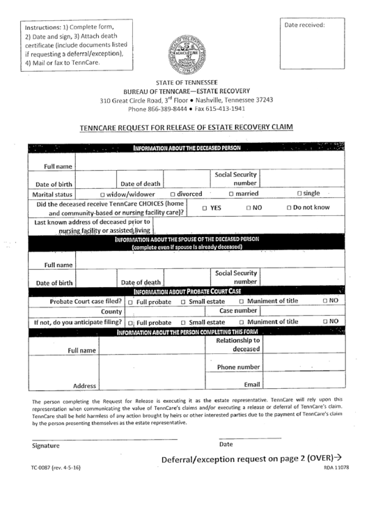 form tc0087 tenncare request for release of estate