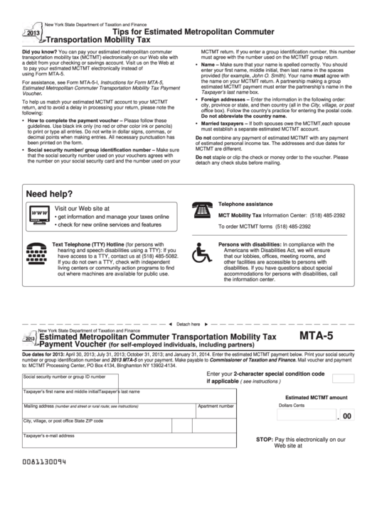 Fillable Form Mta-5 - Estimated Metropolitan Commuter Transportation Mobility Tax Payment Voucher - 2013 Printable pdf