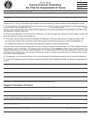 Form B-37 - Special Consent Extending The Time For Assessment Of Taxes