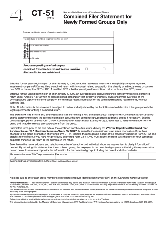 Form Ct-51 - Combined Filer Statement For Newly Formed Groups Only Printable pdf