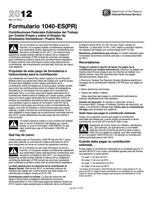 Fillable formulario 1040 es pr contribuciones federales estimadas del trabajo por cuenta - Trabajo en el puerto ...