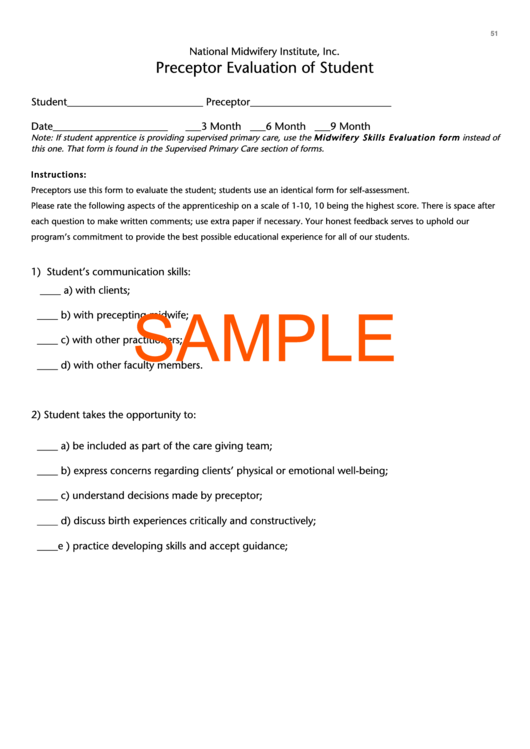 Fillable Sample Preceptor Evaluation Of Student printable