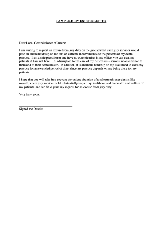 Sample Letter Asking To Be Excused From Jury Duty.Sample Jury Excuse Letter Printable Pdf Download