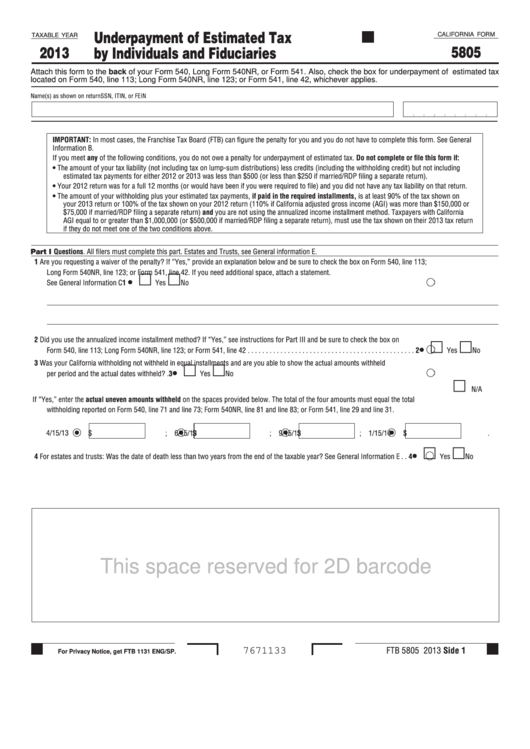 Fillable California Form 5805 - Underpayment Of Estimated Tax By Individuals And Fiduciaries - 2013 Printable pdf