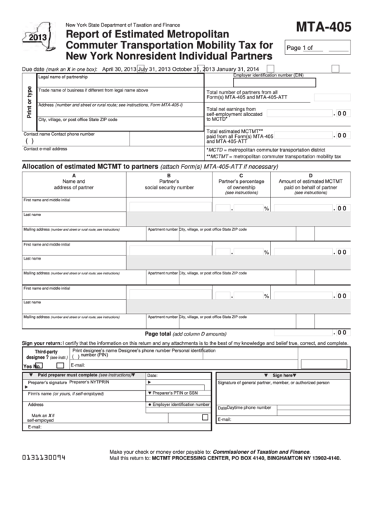 Fillable Form Mta-405 - Report Of Estimated Metropolitan Commuter Transportation Mobility Tax For New York Nonresident Individual Partners - 2013 Printable pdf