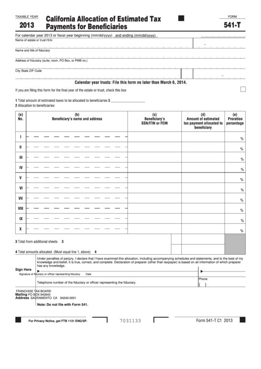 Fillable Form 541-T - California Allocation Of Estimated Tax Payments For Beneficiaries - 2013 Printable pdf