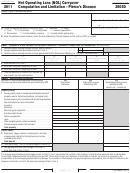 California Form 3805d - Net Operating Loss (nol) Carryover Computation And Limitation - Pierce's Disease - 2011