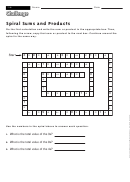 Spiral Sums And Products - Math Worksheet With Answers