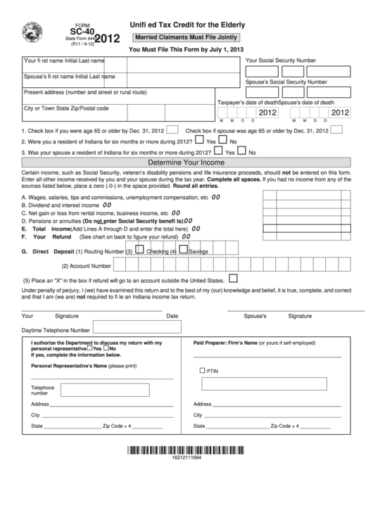 Fillable Form Sc-40 - Unified Tax Credit For The Elderly - 2012 Printable pdf