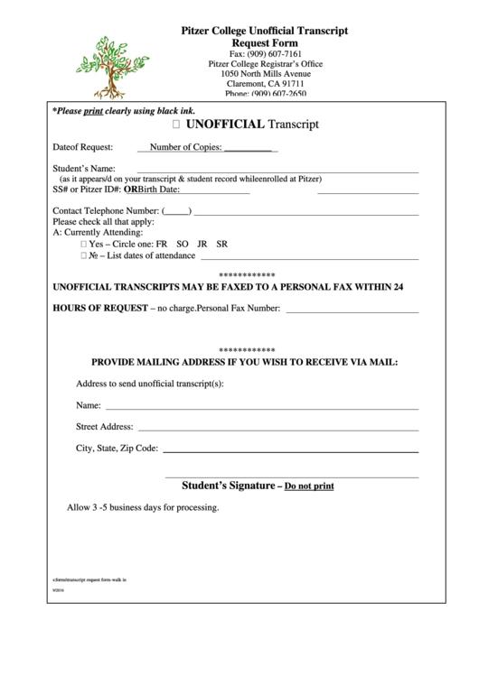 Unofficial Transcript Request Form - Pitzer College