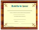 Rodillo De Honor Certificate Template