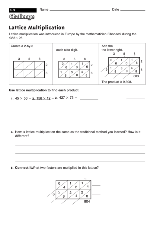 Top 12 Lattice Multiplication Templates free to download in PDF format