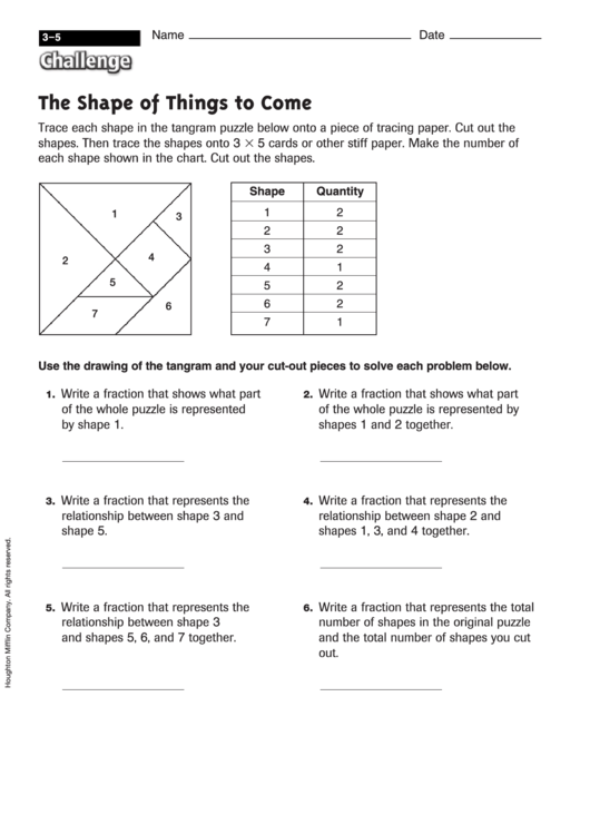 The Shape Of Things To Come - Fraction Worksheet With Answers