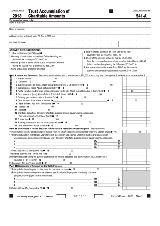 Fillable California Form 541-A - Trust Accumulation Of Charitable Amounts - 2013 Printable pdf