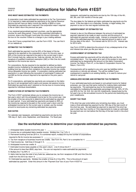 Instructions For Idaho Form 41est - Quarterly Estimated Payments