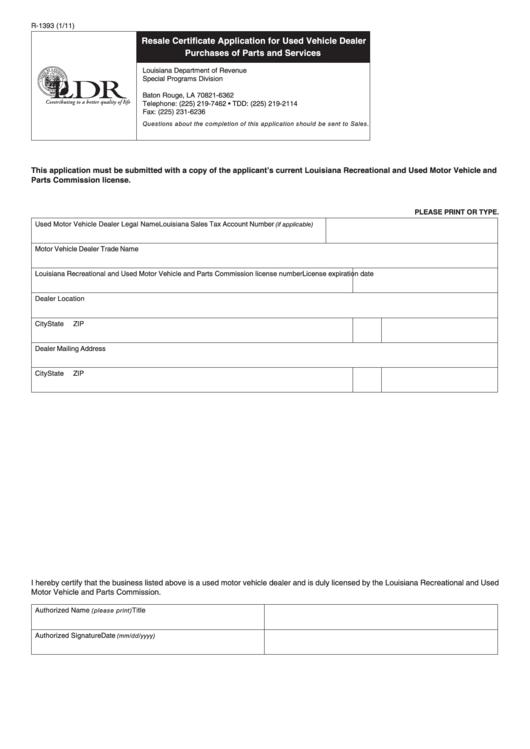 resale certificate form application vehicle pdf dealer printable fillable 1393 purchases services parts