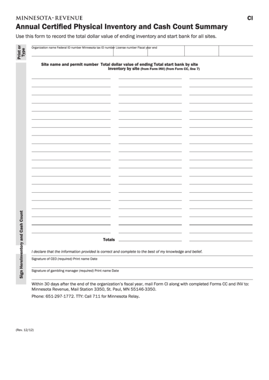fillable form ci annual certified physical inventory and cash