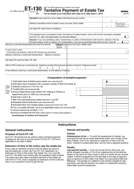 Form Et-130 - Tentative Payment Of Estate Tax Printable pdf