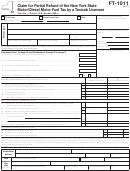 Form Ft-1011 - Claim For Partial Refund Of The New York State Motor/diesel Motor Fuel Tax By A Taxicab Licensee