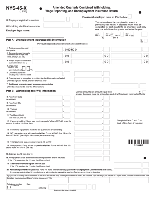 Form Nys-45-x - Amended Quarterly Combined Withholding, Wage Reporting, And Unemployment Insurance Return