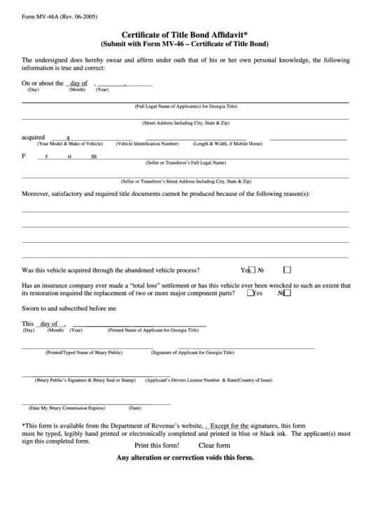Fillable Form Mv-46a - Certificate Of Title Bond Affidavit Printable pdf