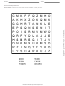 Zoos And Aquariums Word Search Puzzle Template