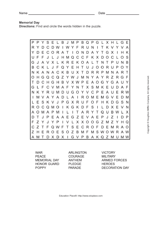 graphic about Memorial Day Word Search Printable titled Memorial Working day Phrase Glimpse Puzzle Template printable pdf obtain