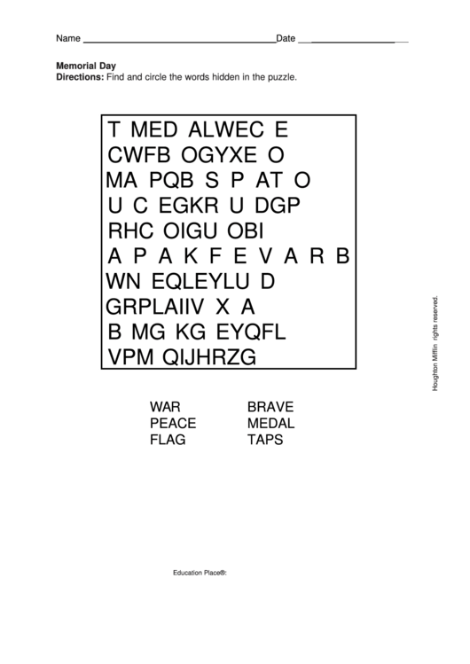 picture relating to Memorial Day Word Search Printable referred to as Memorial Working day Phrase Seem Puzzle Template printable pdf obtain