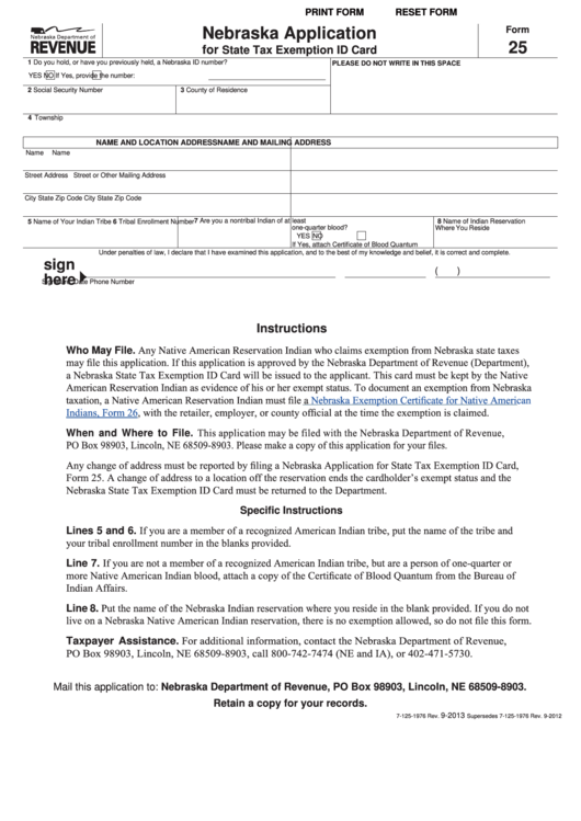 Fillable Form 25 - Nebraska Application For State Tax Exemption Id Card Printable pdf