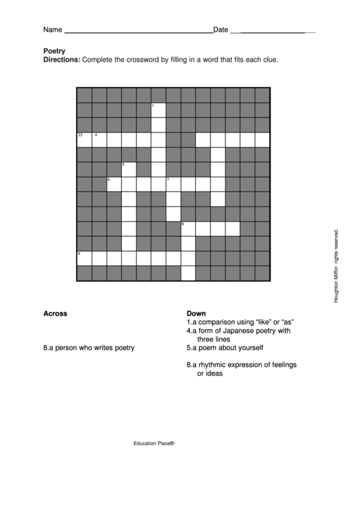 Poetry Crossword Puzzle Template Printable pdf