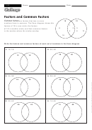 Factors And Common Factors - Factor Worksheet With Answers