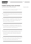 Problem Solving: Guess And Check - Math Worksheet With Answers